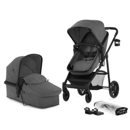 KinderKraft kombinirani otroški voziček JULI 2v1, siv