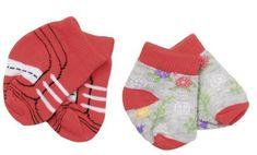BABY born Čarape (2 para) crvene + sive s cvjetovima