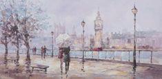 Superposter Maľovaný originál 140x70 Rendezvous Londýn