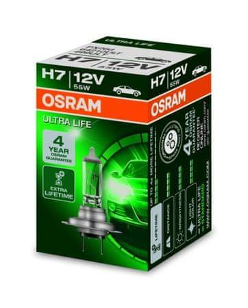 Osram Žárovka typ H7, 12V, 55W, ULTRA LIFE, Halogenové, krabička, 1ks