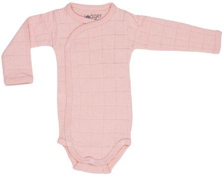 Lodger otroški bodi Romper Solid Long Sleeves Sensitive, 56, roza
