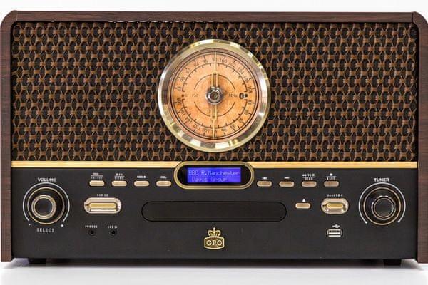 Bluetooth minisystem gpo retro chesterton usb gramofon fm am dab rádió rca kimenet