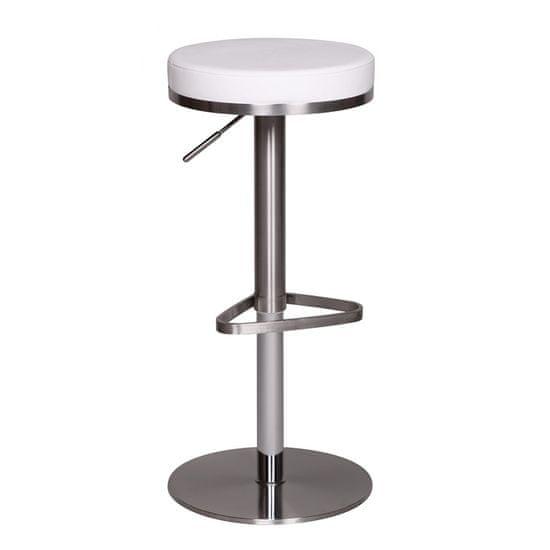 Bruxxi Barová židle s nerezovou podnoží Dreja, bílá