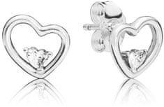 Pandora Szív fülbevaló kövekkel 297813CZ ezüst 925/1000
