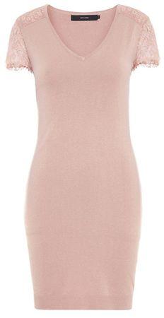 Vero Moda Lassi Glory Sukienka damska z dekoltem w szpic Mist Y Rose (rozmiar XL)