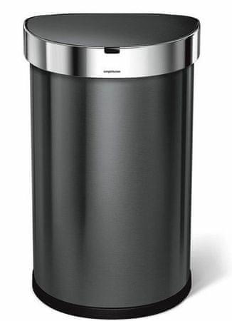 Simplehuman Érintésmentes hulladéktartály 45 l, fekete acél