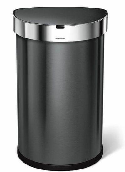 Simplehuman Bezdotykový odpadkový kôš 45 l, čierna oceľ