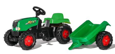 Rolly Toys Rolly Kid lábbal hajtható traktor pótkocsival - zöld