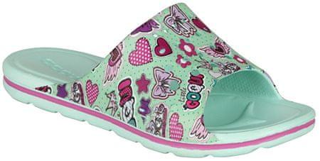 Coqui Dětské pantofle Long Printed Mint Hearts 6375-224-3900 (Velikost 28-29)