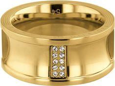 Tommy Hilfiger Luksuzni zlati prstan s kristali TH2780036