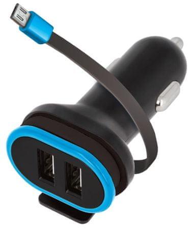 Forever Autós töltő 2× USB 3 A CC 02 microUSB kábellel GSM034042