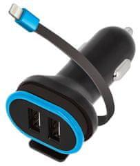 Forever Autós töltő 2× USB 3 A CC Lightning kábellel GSM034044