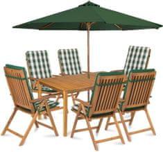 Fieldmann CALYPSO 6 z parasolem i poduszkami, zielone pasy