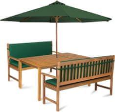 Fieldmann zestaw ogrodowy CALYPSO 6L z parasolem i poduszkami, zielony