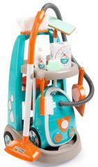 Smoby Vozík pre malú upratovačku s vysávačom-modrá