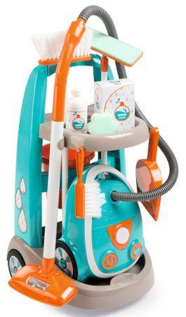 Smoby mały wózek do sprzątania z odkurzaczem - niebieski