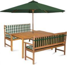 Fieldmann zestaw ogrodowy CALYPSO 6L z parasolem i poduszkami, zielone pasy