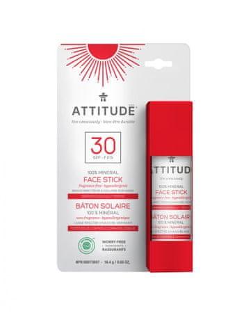 Attitude 100% minerálna ochranná tyčinka na tvár a pery (SPF 30) bez vône 18,4 g