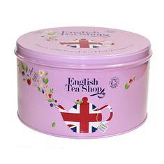 English Tea Shop Dárková kulatá růžová plechovka – kolekce Union Jack - 30 pyramidek