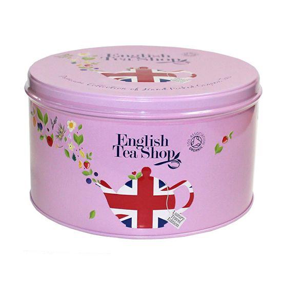 English Tea Shop Darčeková okrúhla ružová plechovka - kolekcia Union Jack - 30 pyramidek