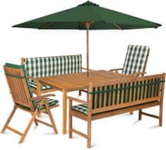 Fieldmann zestaw ogrodowy CALYPSO 8 z parasolem i poduszkami, zielone pasy