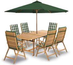 Fieldmann ARIA 6 napernyővel és párnákkal, zöld csíkos