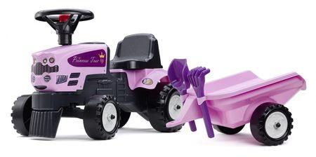 Falk Traktor Princess kormánnyal és utánfutóval, gereblye