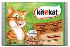 Kitekat mokra hrana za mačke, mesni izbor, 4 x 100 g