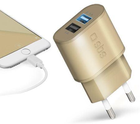 SBS potovalni adapter s hitrim polnjenjem Gold Collection, 2× USB, 2,1 A/1 A, zlat