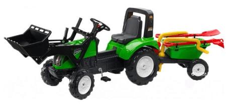 Falk Garden Master pedálos traktor pótkocsival, elülső markolóval és tartozékokkal