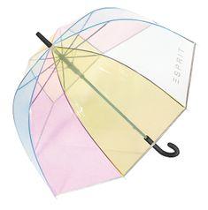 Esprit Dámský holový deštník Long AC Domeshape Transparent Rainbow