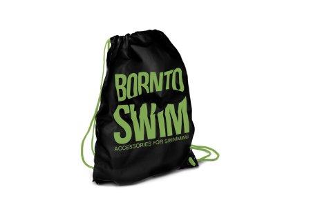 Born To Swim Sportovní černý stahovací vak - černá/zelená