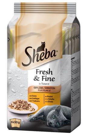Sheba mokra hrana za mačke Mini, perutninski izbor, 6 x 50 g