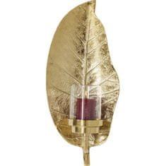 KARE Svícen Leaf - zlatý