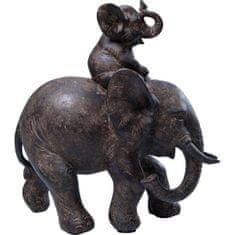 KARE Soška Slon s mláďaťom 19cm