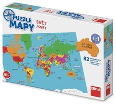 DINO Puzzle Mapy Svet 82 dielikov