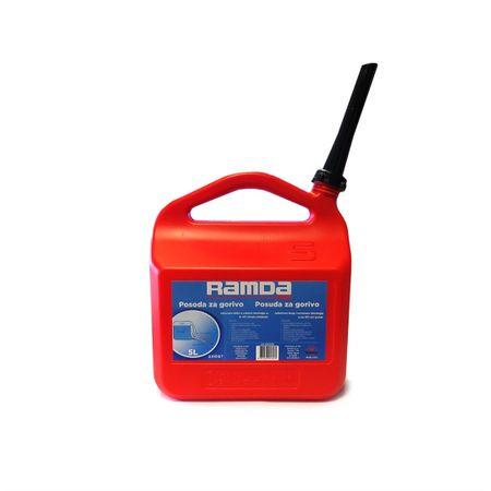 Ramda posoda goriva, rdeča, s tulcem za nalivanje, 5L
