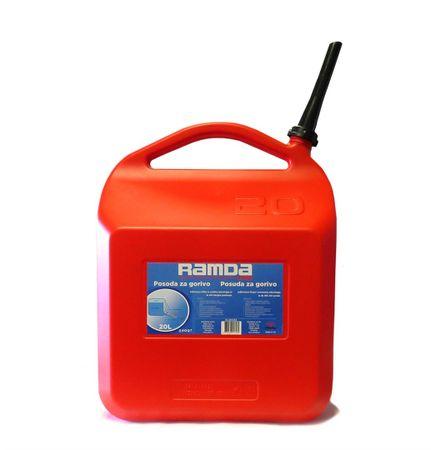 Ramda posoda goriva, rdeča, s tulcem za nalivanje, 20L