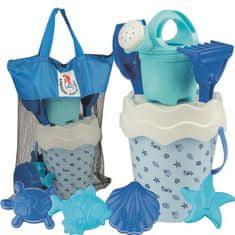 Androni zestaw do piaskownicy w praktycznej torbie Muszle, niebieski