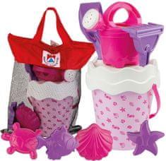 Androni zestaw do piaskownicy w praktycznej torbie Muszle, różowy