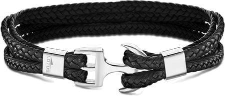 Lotus Style Fekete bőr karkötő LS2006-2 / 1 horgonccsal