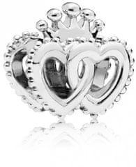 Pandora Strieborný korálik Kráľovská srdce 797670 striebro 925/1000
