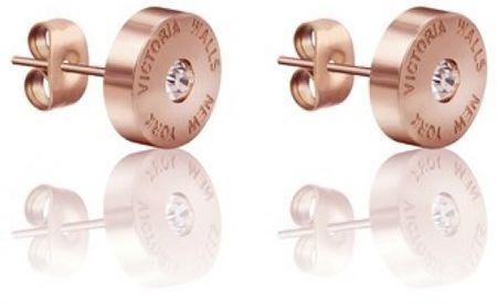 VictoriaWallsNY Rózsaszín aranyozott fülbevaló VE1046R