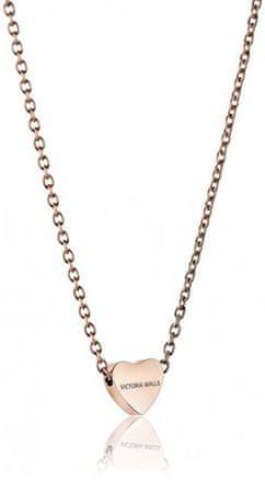 VictoriaWallsNY Rózsaszín aranyozott nyaklánc szívvel VN1051R