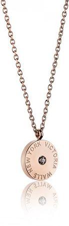 VictoriaWallsNY Rózsaszín aranyozott acél nyaklánc VN1052R