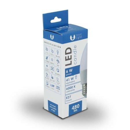 Forever LED žiarovka C37 E27 6W studená biela (6000K)