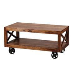 Bruxxi Konferenční stolek na kolečkách Pali, 110 cm, masiv Sheesham