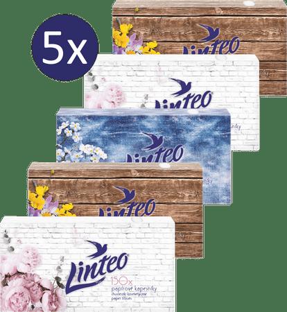 LINTEO Papirnati robčki v škatli, 5 x 150 kosov