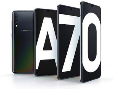 Samsung Galaxy A70, výkonný telefon, super AMOLED Infinity-U displej, trojitý fotoaparát, velká výdrž, rychlé nabíjení.