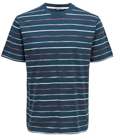 ONLY&SONS Pánske tričko Leonard Stripe Ss Tee Majolica Blue (Veľkosť S)